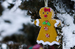 Gingerbread Woman Decoration on a Snowy Outdoor Christmas Tree Stock Image