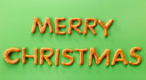 Gingerbread words Merry Christmas Royalty Free Stock Images