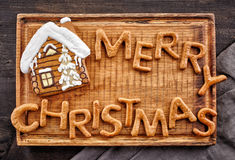 Gingerbread words Merry Christmas Royalty Free Stock Photography