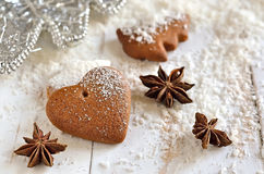 Gingerbread Xmas heart Stock Image
