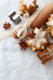 Gingerbread xmas star cookies and rolling pin Stock Photo