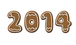 Gingerbread Year 2014 Christmas Cookie Royalty Free Stock Photos