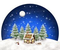 Gingerbreadhouse sledge christmas trees in a snowy landscape under blue nightsky with moon and snow flakes stock illustration