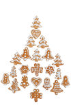 Gingerbreads arranged as christmas tree Stock Photos