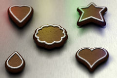 Gingerbreads. Christmas atmosphere with pieces of gingerbreads Stock Image
