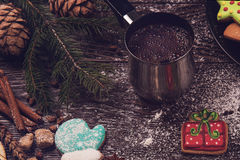 Gingerbreads and coffee Royalty Free Stock Photography