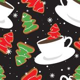 Gingerbreads and cups of cocoa, seamless pattern stock illustration