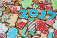 Gingerbreads are decorated for the new 2017 year (can be used as card) Royalty Free Stock Photography