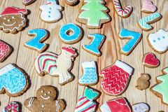 Gingerbreads are decorated for the new  year and Christmas (can be used as card) Royalty Free Stock Photography