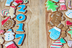Gingerbreads are decorated for the new  year and Christmas (can be used as card) Stock Photo