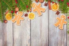 Gingerbreads and fir tree Royalty Free Stock Photo
