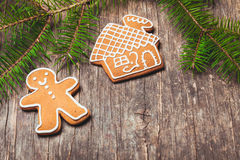 Gingerbreads and fir tree Stock Images