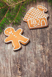 Gingerbreads and fir tree Stock Photography