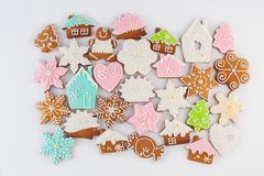 Gingerbreads flat lay on white Stock Photo