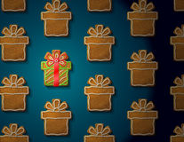 Gingerbreads in form of christmas gift with icing Royalty Free Stock Images
