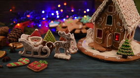 Gingerbreads for new years and christmas stock video