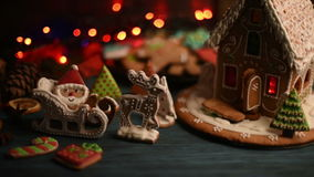 Gingerbreads for new years and christmas stock video footage