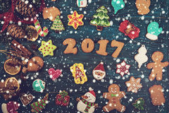 Gingerbreads for new 2017 years Royalty Free Stock Photography