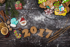 Gingerbreads for new 2017 years Stock Photography
