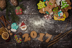 Gingerbreads for new 2017 years Royalty Free Stock Photos