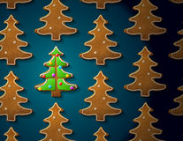 Gingerbreads in shape of christmas tree with icing Royalty Free Stock Photography