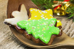 Gingerbreads with spruce branches Stock Photography