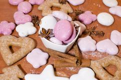 Gingerbreads on a wooden counter royalty free stock photos