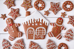 Gingerbreand cookies christmas composition, house Stock Photos