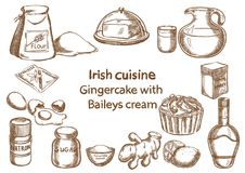 Gingercake com o ingrediente do creme de Baileys Fotografia de Stock Royalty Free