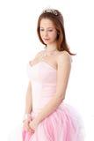 Gingerish girl in coming out dress. Gingerish girl in elegant coming out dress and headpiece Royalty Free Stock Photos
