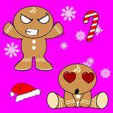 Gingerman cartoon xmas set5 Royalty Free Stock Photography