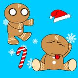Gingerman cartoon xmas set7 Stock Photos