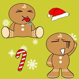 Gingerman cartoon xmas set8 Royalty Free Stock Photography