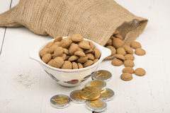 Gingernuts and chocolate cents Stock Images