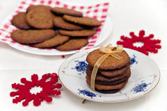 Gingersnaps. Ginger cookies with festive background stock photo