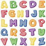 Gingham Alphabet. Original alphabet design with red, blue, green, gold, orange and purple gingham checks for scrapbooks, crafts, back to school projects. Mix and Stock Photo