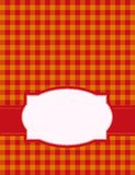 Gingham background. Red and orange gingham / squares background with frame. specially for baby themed / mother's day or any occasion greeting cards or dinner Stock Photography