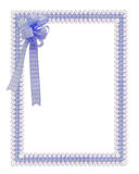 Gingham and daisies ribbons blue border Royalty Free Stock Photography
