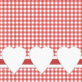 Gingham fabric effect love heart check background. Ninteen fifties inspired domestic style background. Hearts with copyspace Stock Photos