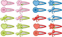 Gingham Fashion Hair Clips Stock Photography