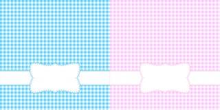 Gingham frames. In blue and pink vector illustration