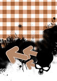 Gingham Grunge Background. Background of brown tones and white gingham, with black grunge design at the bottom, including a skull in the far right corner.  Three Royalty Free Stock Photography