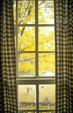 Gingham hänger upp gardiner inrama sikten av höstsidor, Waterloo, NJ royaltyfria foton