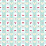 Gingham with hearts. Retro seamless pattern with simple small hearts on gingham background Stock Images