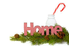 Gingham home sign with candy cane in milk bottle Stock Images