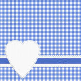 Gingham love heart check background. Doily effect, blue white. Stock Photography