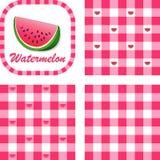 gingham mönsan den seamless vattenmelonen stock illustrationer
