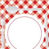 Gingham Menu Card. Menu Card - Red Gingham Texture, Plate and Cutlery / Vector stock illustration