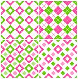 Gingham pattern. Pink and green seamless gingham patterns collection specially for spring themed seasonal designs Stock Images