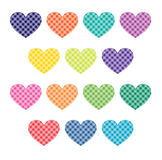 Gingham plaid hearts clipart Stock Images